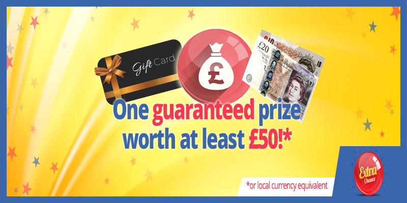 Win a Guaranteed Prize worth at least £50